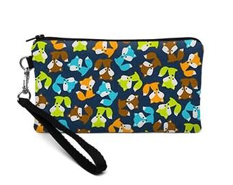iPhone 8 Plus Case, Vegan Phone Zipper Wallet, Cute Phone Clutch, Smartphone Wristlet Clutch - tiny foxes blue green orange