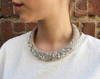 """Braided linen necklace and bracelet, made of natural linen, eco, silver tone pearls """"tubes"""""""