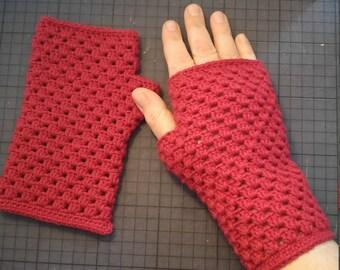 Beautiful carmine red fingerless gloves crocheted cotton
