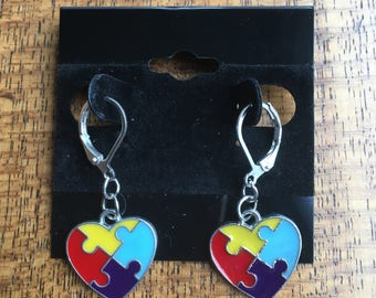 Autism Awareness Puzzle Heart Earrings