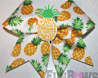 Sweet Pineapple sayings Cheer Bow by FunBows ! 3-D center !