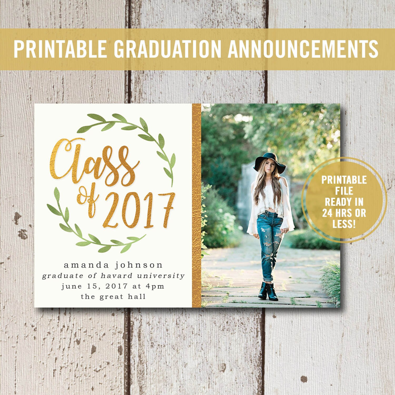 College Graduation Invitation Printable or Printed High