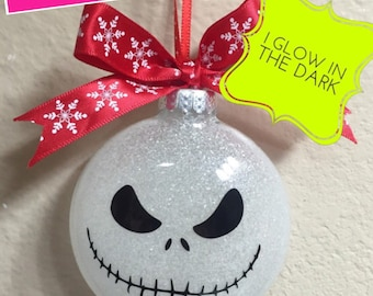 Glass ornament Jack  (glow in the dark), Glass ornament, Ornament, Jack and Sally Ornament