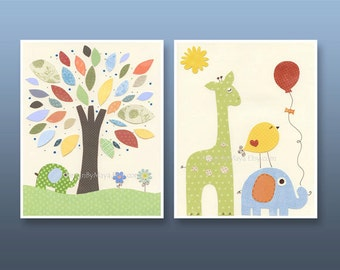 Children Room, Decor for Nursery, Baby room art, Nursery wall art, set of 2 prints, jungle friends nursery, yellow, blue, green, orange