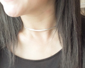 Sterling Silver Choker Necklace, Bar Choker, Silver Choker, Curved Bar Choker, Simple Sterling Silver Choker