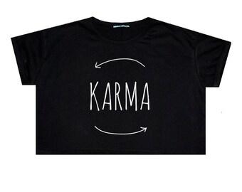Karma Crop Top T Shirt Tee Womens Girl Funny Fun Tumblr Hipster Swag Grunge Goth Punk Fashion Festival Indie Boho Summer Wifi Symbol Luck