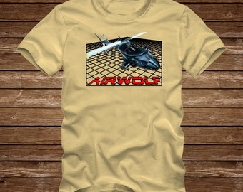 AIRWOLF HELICOPTER - funny Tshirt T-Shirt Adult sizes S-3Xl many colors  80s tv