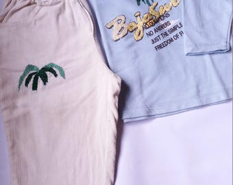 Beige Velvet Palm Embroidery Pants With Embroidered Blue Shirt - Set