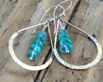 Apatite Earrings and Hill Tribe Silver, Sterling Silver Teardrop Hoops, Pierced Earrings, Apatite Jewelry