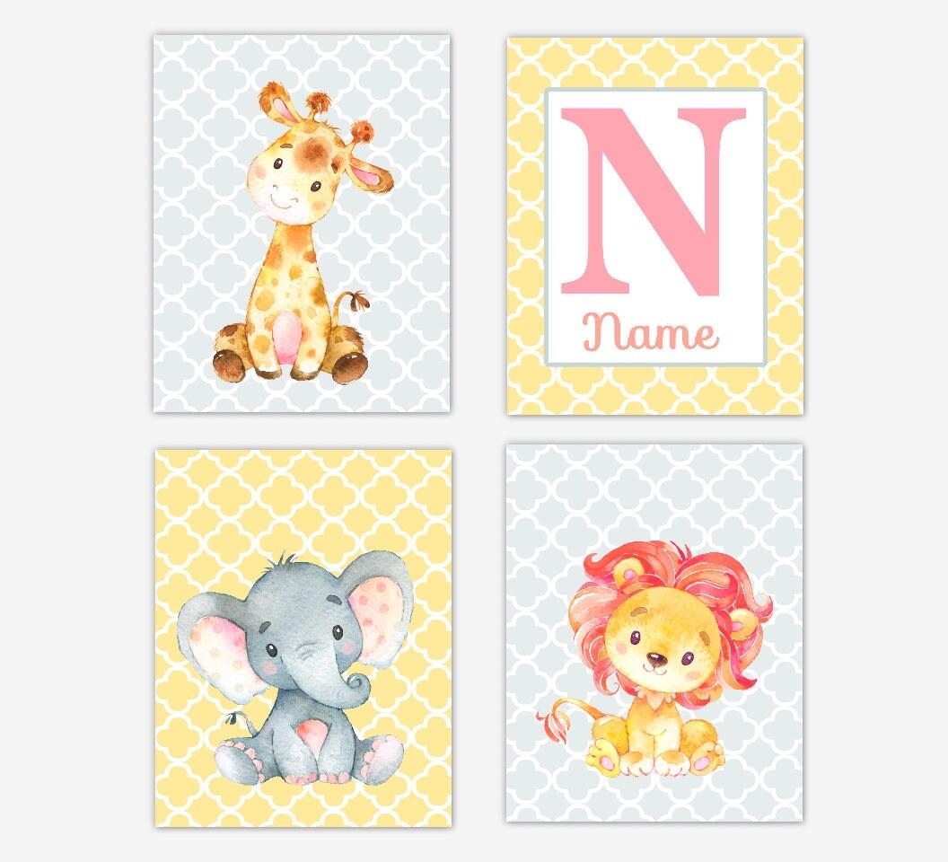 Baby Girl Nursery Art Pink Yellow Elephant Giraffe Lion Safari