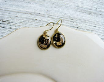 Gold Flake and Mica Earrings, Black and Gold Earrings, Gold Drop Earrings, Geology Earrings, Resin Jewelry, Minimalist Earrings