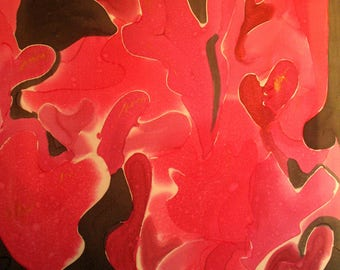 Abstract Hearts on Black background