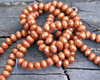 Czech Glass 8x6mm Rondelles in Burnt Sienna with a Luster Finish Beads (25)