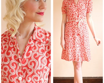 1940s Dress // Coral Reef Cold Rayon Dress // vintage 40s dress