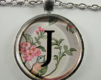 "Initial ""J"" Necklace -- Spring pattern Personalized Letter J Necklace, Wedding Necklace, Bridesmaid Necklace, Hen Night Necklace, Friendship"
