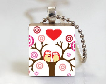 PINK VALENTINE OWL - Scrabble Pendant Necklace with Free Ball Chain Necklace or Key Ring