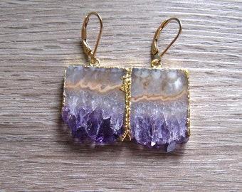 Amethyst Slice Earrings, Natural Stalactite Rectangle Earrings, February Birthstone, Amethyst Jewelry, Gift For Her, Raw Amethyst Earrings