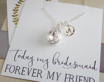 Bridesmaid gift box Bridesmaid necklace Teardrop Clear Crystal necklace Silver necklace Gold necklace Personalized silver Initial necklace