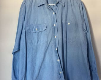 Vintage The Limited Denim Shirt Blouse Embroidered Crown Logo Button Up Shirt