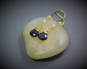 Delicate Iolite Pearl Drop Earrings Wire Wrapped In Gold ~ Handmade Jewelry By Adonia
