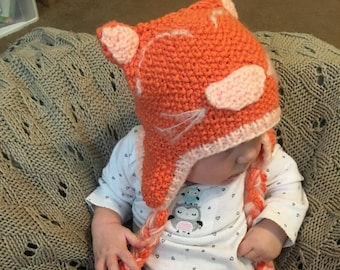 Orange Kitty Cat Hat in Cotton for Newborn to 6 months