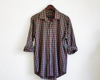Vintage Eddie Bauer Shirt, Mens Shirt, Button Down Shirt, 90s Plaid Shirt, Mens Collared Shirt, Grunge Shirt, Button Up Shirt,XL 2XL