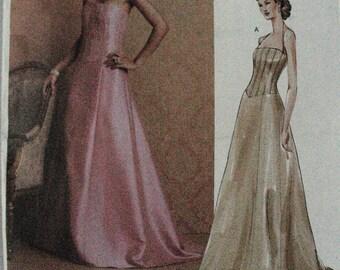 Vogue 2732 Badgley Mischka evening bridal dress 12-14-16 free shipping US close fitting shaped bodice flared floor length skirt