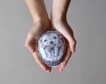 hedgehog toy soft plush stuffed animal hand painted fabric woodland home decor gift idea