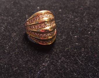 Beautiful designer gold over 925 sterling silver dome CZ ring size 9
