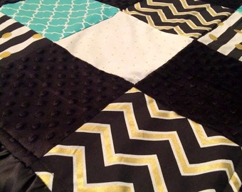 Black and Gold with Teal Blanket