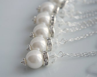 Pearl Necklace Set Pearl Crystal Necklace Wedding Necklace Bridesmaid Necklace Wedding Jewelry Set Ivory Pearl Necklace Gift Bridesmaids