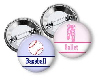 Gender Reveal Party Baseball or Ballet Slippers Party Favors  1.25 or 1.75  inch Pin Back  Buttons Pink Blue Baby Shower Team Buttons