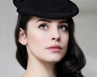 Saucer Hat, Mini Hat, Hatinator, Black Felt Hat, Mother of The Bride Hat, Wedding Hats - Iris