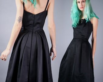 Vintage 50s Structured Dress Perfect Little Black Cocktail Dress Tailored Couture Dress Custom Size X Small 33 Bust