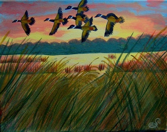 Flying Geese at Sunset