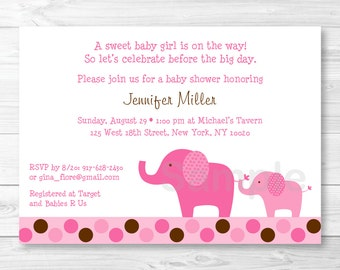 Cute Pink Elephant Baby Shower Invitation / Elephant Baby Shower Invite / Polka Dot Pattern / Pink & Brown / Baby Girl / PRINTABLE A430