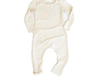 Cream Romper- Short or Long Sleeve | long sleeve romper, baby onesie, solid romper