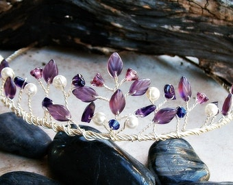 Amethyst Wedding Tiara w Purple and Violet Leaf Beads