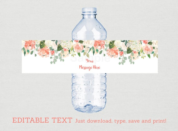 floral water bottle labels    floral baby shower    watercolor