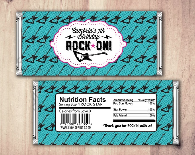 Rock Star wrapper, Pop Star Wrapper – Printable Hershey's Bar Wrapper  – Birthday party favor- Party Favors- Rock Star, Pop star party