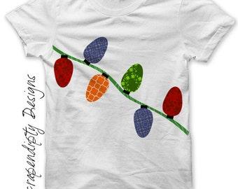 Christmas Lights Iron on Transfer - Christmas Iron on Shirt PDF / Kids Boys Clothing Tops / Baby Girls Clothes / PDF Image Transfer IT109
