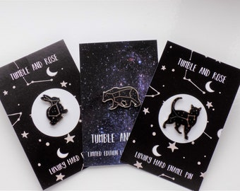 Constellation enamel pin set of 3 - Ursa Major, Lepus, Felis -  The Great Bear pin - Space enamel pins - constellation pin - black cat pin