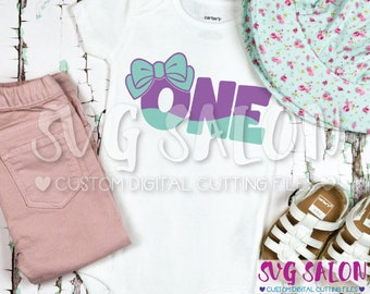 One Bow Birthday Year Old First Girl Girly Mermaid Cut File svg eps dxf jpeg png Cricut Design Space Silhouette Studio Cameo Sublimation