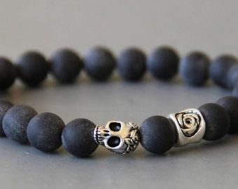 men skull bracelet skull black) and matte onyx