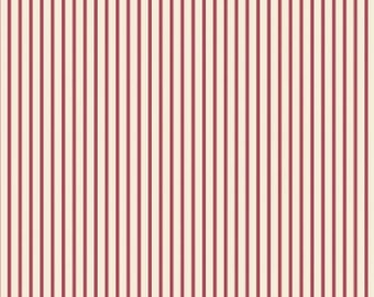 Red Ticking Stripe Fabric - Maywood Studio, vintage style fabric, vintage chic, red stripes, red ticking, shabby chic, woodland, country
