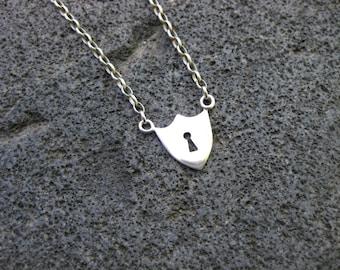 Sterling Silver Padlock / Shield Necklace