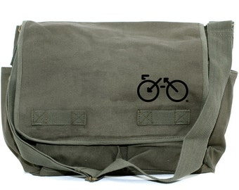Messenger Bag | BIKE | Gift for Men | Camera Bag | Crossbody Bag | Canvas Bag | Travel | Large | Biking Gift | Gift for Women | Gift for Dad