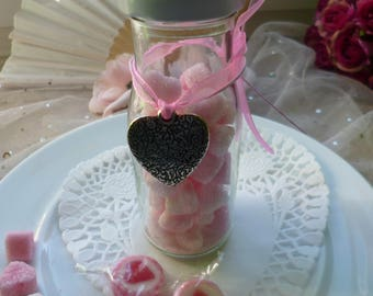 Milk bottle with sugar hearts