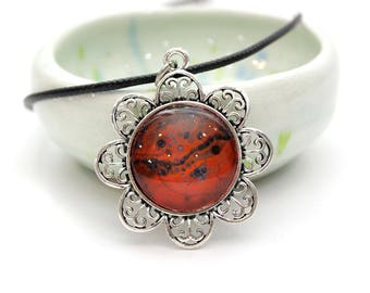 Upcycled Made with Paint Flower Pendant in Burnt Orange