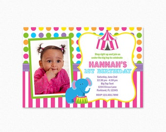 Circus Birthday Party Invitation, Carnival Birthday Party Invitation, Circus Party Invites, Elephant, Photo, Printable or Printed